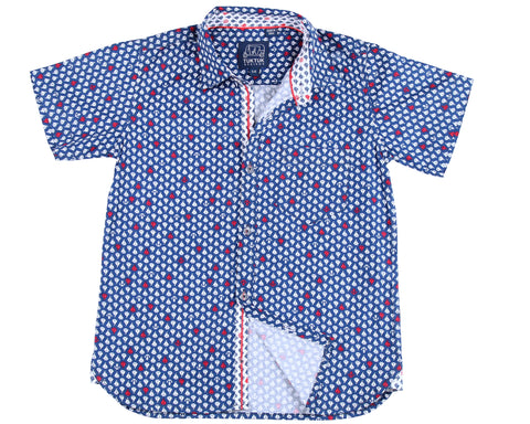 TukTuk Designs short sleeve blue nautical shirt in sailboat print with contrast collar, cuff and placket. Available in matching daddy and me size.