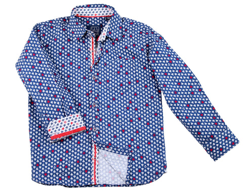 TukTuk Designs long sleeve blue nautical shirt in sailboat print with contrast collar, cuff and placket. Available in matching daddy and me size.
