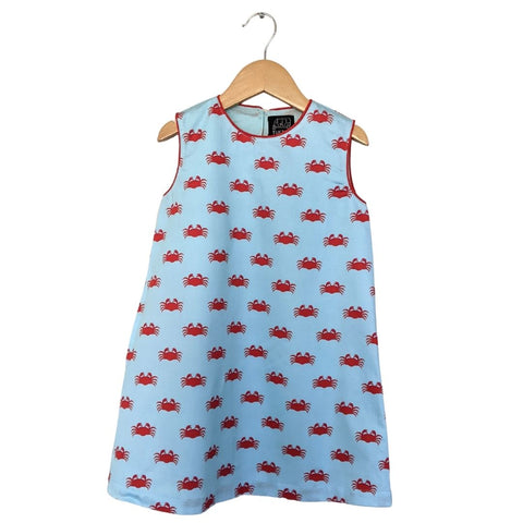 TukTuk Designs Chilli Crab girls blue shift dress in playful red crab print with red trim and side pockets. Available matching boys, sibling shirt .