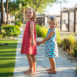 TukTuk Designs nautical girls dresses in playful crab and shark print. Available in matching boys shirts.