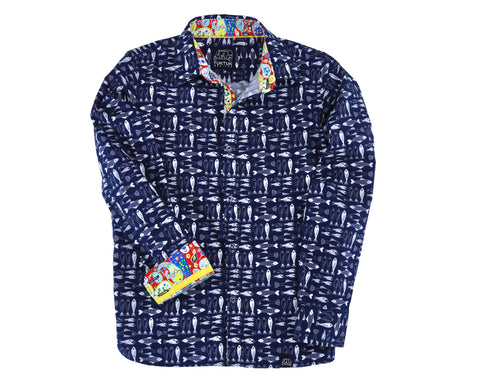 TukTuk Designs boys long sleeve blue fish shirt with colorful trim details.