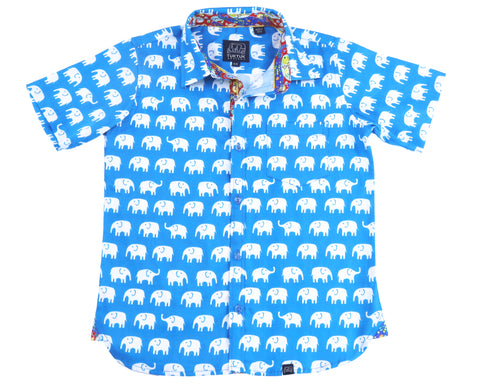TukTuk Designs Boys short sleeve tailored, button up shirt in bright blue elephant print with colorful paisley trim.
