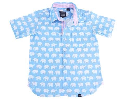 TukTuk Designs Boys short sleeve tailored shirts in blue elephant print with contrast pink gingham trim. Perfect for beach vacations, resorts and easter.