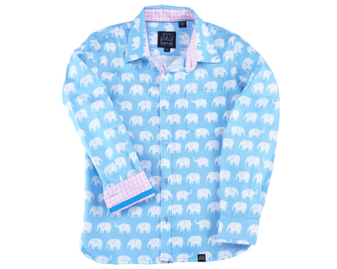 TukTuk Designs Boys long sleeve tailored shirts in blue elephant print with contrast pink gingham trim. Perfect for beach vacations, resorts and easter.