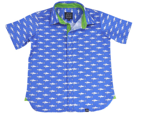 TukTuk Designs Boys shirts in a fun mako shark print, designed to spark the imagination of little minds. Thoughtfully tailored in small batches and with fine detailing for stylish little gentlemen. Perfect for vacations, parties and memorable moments for the shark-obsessed!