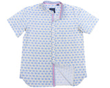TukTuk Designs Mandarin collar boys short sleeve shirt in blue elephant print with contrast chambray collar, cuff and placket. Available in daddy & me style.