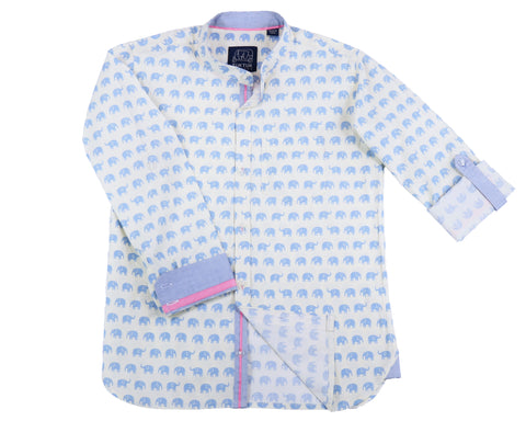 TukTuk Designs Mandarin collar boys shirt in blue elephant print with contrast chambray collar, cuff and placket. Available in daddy & me style.