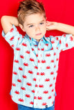 TukTuk Designs Boys shirts in unique and fun crab print, designed to spark the imagination of little minds. Thoughtfully tailored in small batches and with fine detailing for stylish little gentlemen. Perfect for vacations, parties and memorable moments in between.