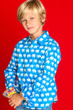 TukTuk Designs Boys long sleeve tailored, button up shirt in bright blue elephant print with colorful paisley trim.