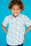 TukTuk Designs Gone Fishing boys nautical print short sleeve shirt with matching daddy and me style.