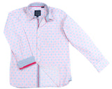 TukTuk Designs pink long sleeve boys' button up shirt with trim details, perfect for resorts, vacations and Valentine's Day