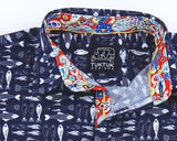 TukTuk Designs boys short sleeve blue fish shirt with colorful trim details suited for resorts, parties and everyday.
