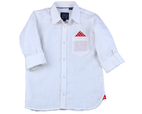 TukTuk Designs White Linen Shirt with pocketsquare