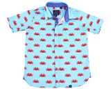 TukTuk Designs Boys short sleeve tailored shirts in fun crab print with contrast wave trim. Perfect for beach vacations, resorts and everyday memories.