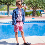 TukTuk Designs pink long sleeve boys' button up shirt perfect for resorts, vacations and Valentine's Day