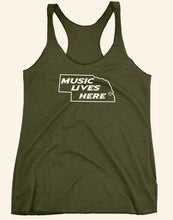 "Nebraska ""MUSIC LIVES HERE"" Women's Triblend Racerback Tank Top"