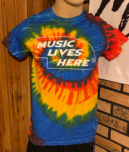 "Nebraska ""MUSIC LIVES HERE"" Men's Tie Dye T-Shirt"
