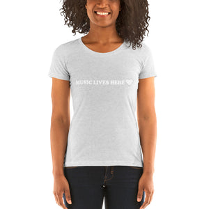 """MUSIC LIVES HERE"" with Heart - Women's Triblend T-Shirt"