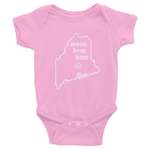 "Maine ""MUSIC LIVES HERE"" Baby Onesie"