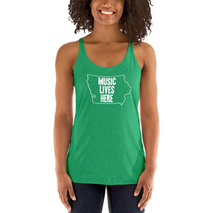 "Iowa ""MUSIC LIVES HERE"" Women's Triblend Racerback Tank"