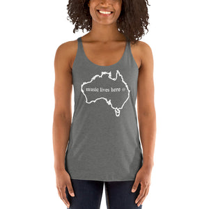 "Australia ""MUSIC LIVES HERE"" Women's Triblend Racerback Tank Top"