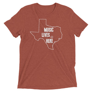 "Texas ""MUSIC LIVES HERE"" Men's Triblend Tshirt"
