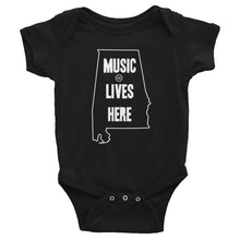 "Alabama ""MUSIC LIVES HERE"" Baby Onesie"