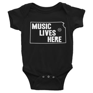"Kansas ""MUSIC LIVES HERE"" Baby Onesie"