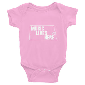 "North Dakota ""MUSIC LIVES HERE"" Baby Onesie"