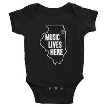 "Illinois ""MUSIC LIVES HERE"" Baby Onesie"