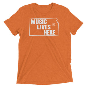 "Kansas ""MUSIC LIVES HERE"" Men's Triblend Tshirt"