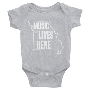 "Missouri ""MUSIC LIVES HERE"" Baby Onesie"
