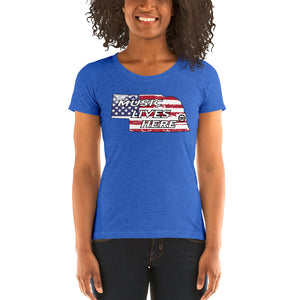 "Nebraska Patriot ""MUSIC LIVES HERE"" Women's Triblend T-Shirt"