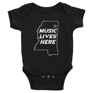 "Mississippi ""MUSIC LIVES HERE"" Baby Onesie"