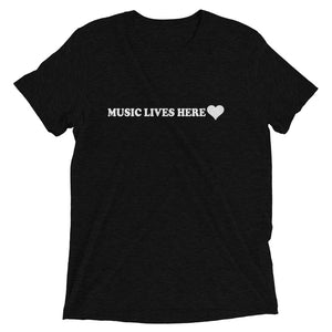 """MUSIC LIVES HERE"" with Heart - Men's Triblend T-Shirt"
