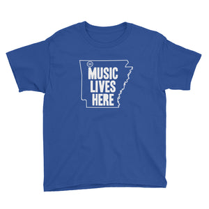 "Arkansas ""MUSIC LIVES HERE"" Youth Short Sleeve T-Shirt"