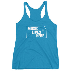 "Kansas ""MUSIC LIVES HERE"" Women's Triblend Racerback Tank"