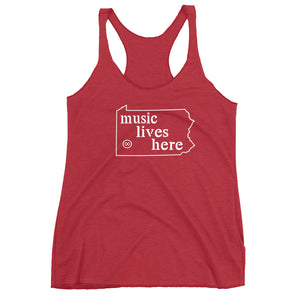 "Pennsylvania ""MUSIC LIVES HERE"" Women's Triblend Racerback Tank"