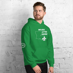 "Louisiana ""MUSIC LIVES HERE"" Hooded Sweatshirt"