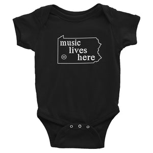 "Pennsylvania ""MUSIC LIVES HERE"" Baby Onesie"