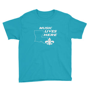 "Louisiana ""MUSIC LIVES HERE"" Youth Short Sleeve T-Shirt"