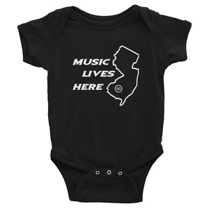 "New Jersey ""MUSIC LIVES HERE"" Baby Onesie"