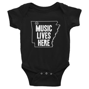 "Arkansas ""MUSIC LIVES HERE"" Baby Onesie"