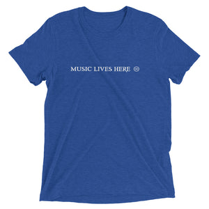 """MUSIC LIVES HERE"" All Caps - Men's Triblend T-Shirt"