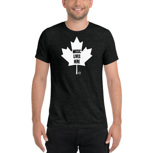 "Canada ""MUSIC LIVES HERE' Black Maple Leaf - Triblend T-Shirt"