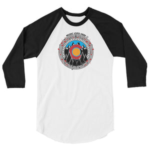 "Colorado Pride ""MUSIC LIVES HERE"" Men's 3/4 Sleeve"