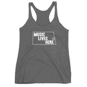 "North Dakota ""MUSIC LIVES HERE"" Women's Triblend Racerback Tank"