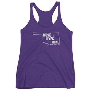 "Oklahoma ""MUSIC LIVES HERE"" Women's Triblend Racerback Tank Top"