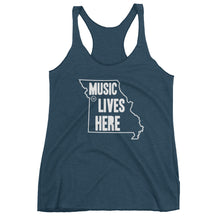 "Missouri ""MUSIC LIVES HERE"" Women's Triblend Racerback Tank Top"
