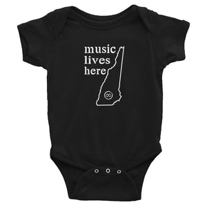 "New Hampshire ""MUSIC LIVES HERE"" Baby Onesie"